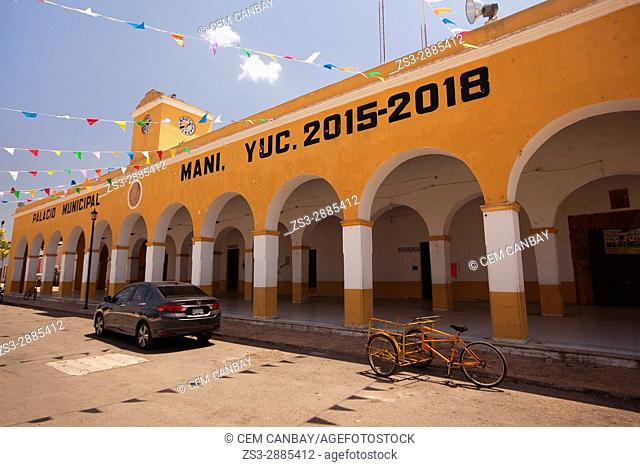 View to the Palacio Municipal-Town Hall building at the town center, Mani, Convent Route, Yucatan Province, Mexico, Central America