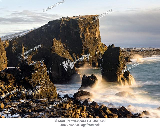 North Atllantic coast during winter near Reykjanesviti and Valahnukur. europe, northern europe, iceland, February