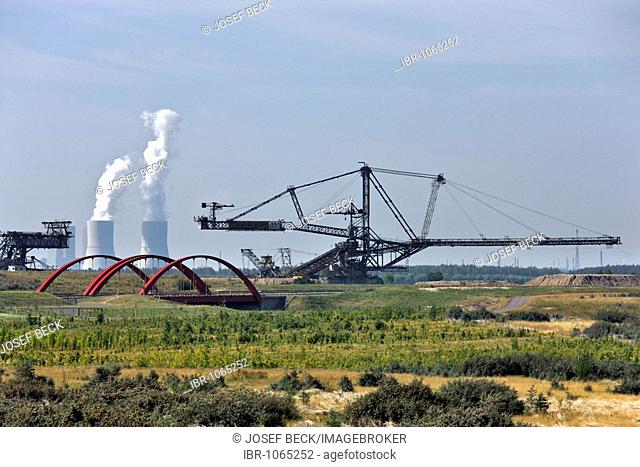 Open-cut mining at Markkleeberger See, stripping shovel, highway bridge of the A 38 autobahn, cooling towers of the Lippendorf Power Station near Leipzig
