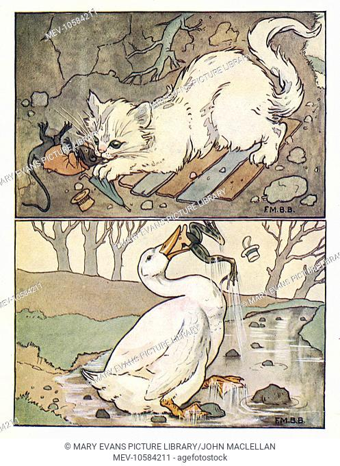 Nursery Rhymes -- A Frog He Would A-Wooing Go. A white cat catches Uncle Rat (above), and a white goose catches the Frog (below)