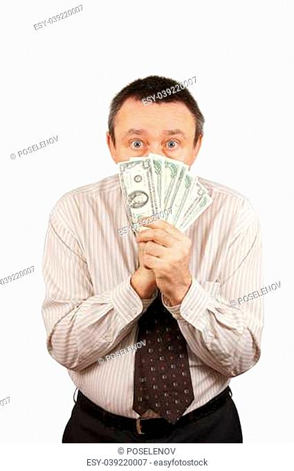 Frightened man hid his face behind the money