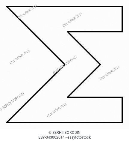 Sum symbol icon black color vector illustration flat style simple image