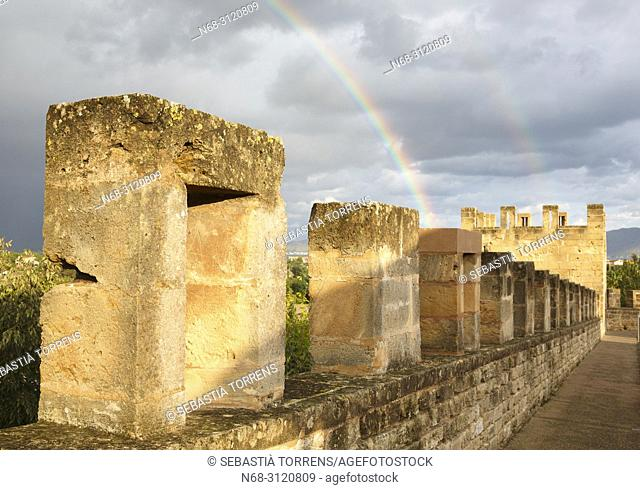 Alcudia walls and rainbow, Majorca, Balearic Islands, Spain