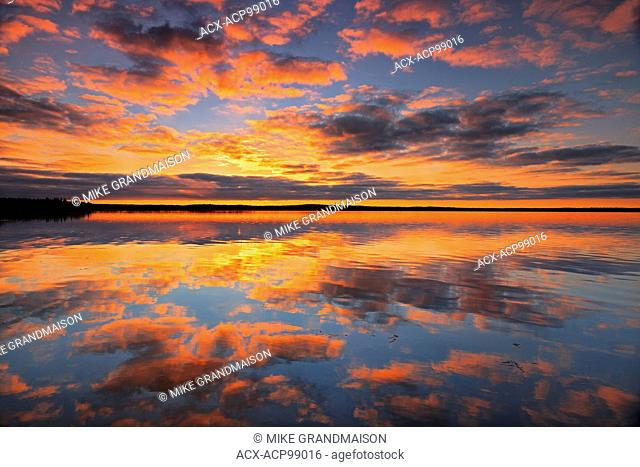 Morning reflection in Namekus Lake Prince Albert National Park Saskatchewan Canada