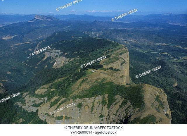 Aerial view of Sierra de San Juan de la Pena, Santa Cilia de Jaca, Aragon, Spain