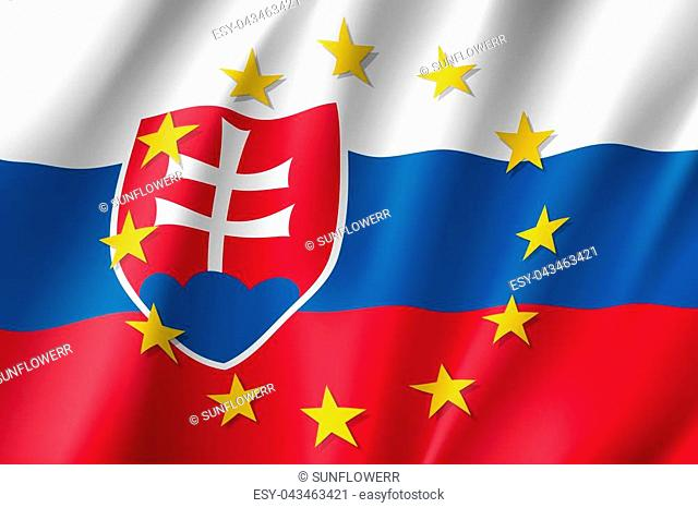 Slovakia national flag with a circle of European Union twelve gold stars, political and economic union, EU member since 1 May 2004