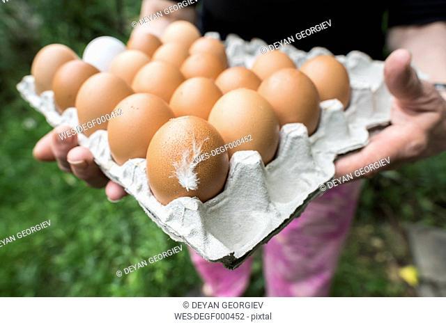 Bulgaria, Woman holdin fresh eggs in carton