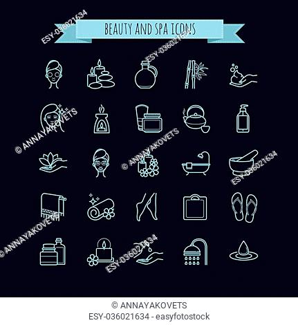 Spa and Beauty vector thin line icons set on a black background for web, polygraphy, etc