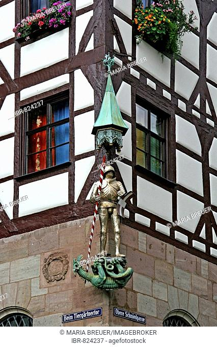 St. Georg Statue with the dragon, Nuremberg, Middle Franconia, Germany, Europe