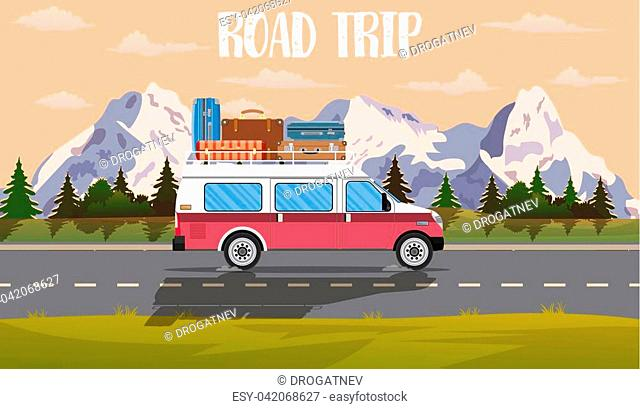 web banner on the theme of Road trip, Adventure, vintage car, outdoor recreation, adventures in nature, vacation. vector illustration in flat design