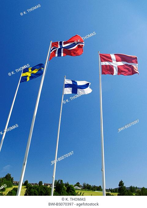 flags of the nordic countries, Norway, Denmark, Sweden, Finland, Sweden