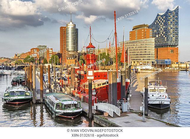 Harbor and port, Elbe river, Hamburg, Germany