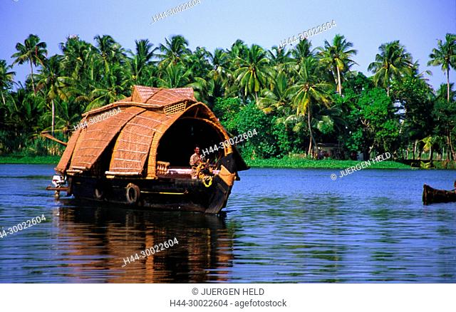 India Kerala house boat in backwaters