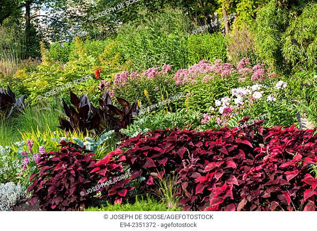 A mixed flower bed in the Joan of Arc Garden, Quebec City, Canada