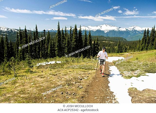 A HIker en Route to the Black Tusk in Garibaldi Provincial Park near Whistler BC