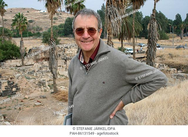 The leading archaeologist Hans-Peter Kuhnen stands on the massive gate of the Caliph's palace, photographed at the shores of the lake Genezareth in Chirbat...
