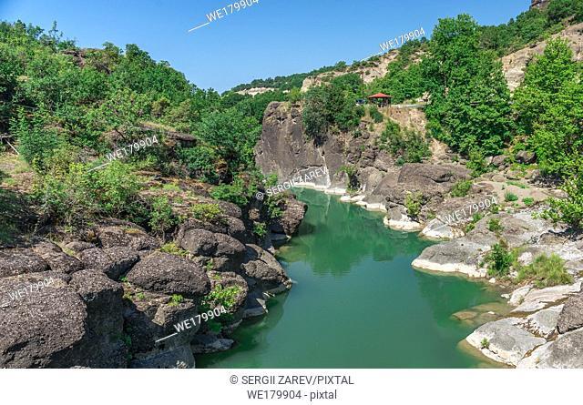 Venetikos river canyon, Greece with green water near Meteora in Greece