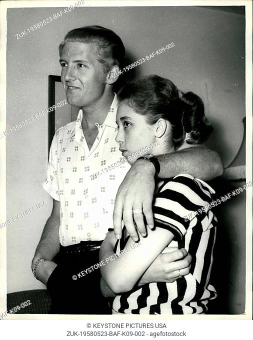 May 23, 1958 - 22 - year - old American rock n' roll singer arrives here with his 15 - year old wife: Jerry Lee Lewis, the American rock n' roll singer