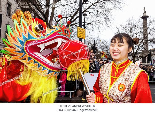 England, London, Chinese New Year Parade, Chinese Dragon