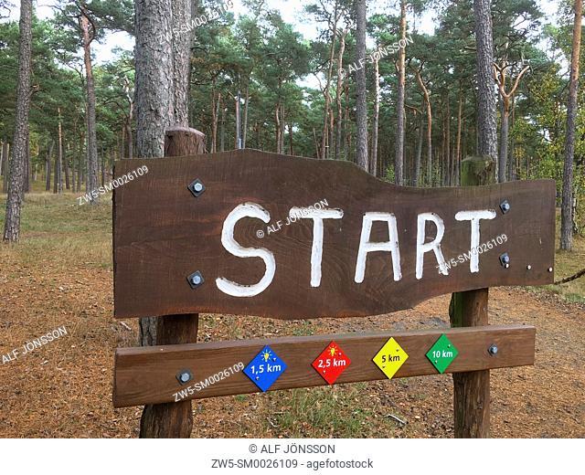 Sign for start at jogging tracks in Ystad, Scania, Sweden
