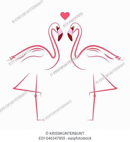 two pink flamingos in love simlpe drawing vector illustration EPS10