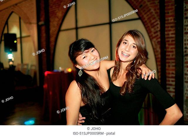 Teenage girls at birthday party