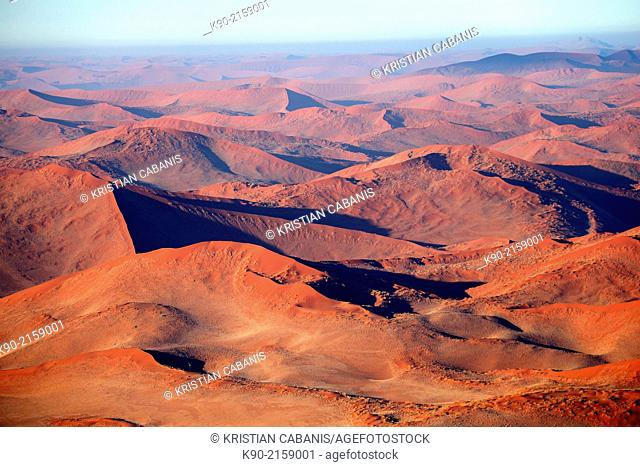Aerial view of the red sand dunes of Sossusvlei, Namib-Naukluft Park, Namibia, Africa