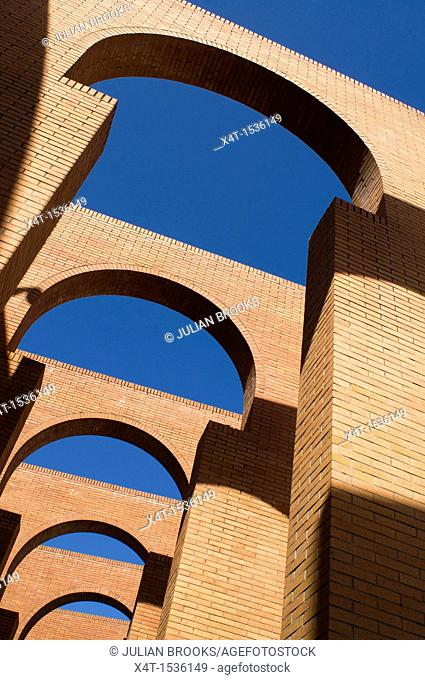 Arches detail, FIBES conference centre, Seville Spain  Red bricks and blue sky