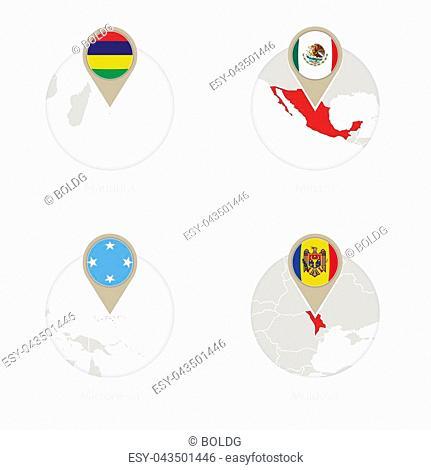 Mauritius, Mexico, Micronesia, Moldova map and flag in circle. Vector Illustration