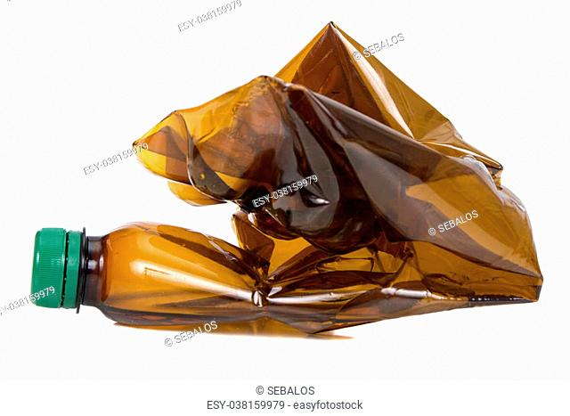 Used brown plastic bottles isolated over white background