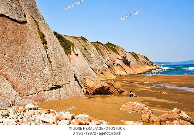 Flysch, Cliff, Itzurun Beach, Zumaia, Bay of Biscay, Cantabrian Sea, Gipuzkoa Province, Basque Country, Spain, Europe