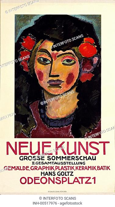 Ü SG hist , Ausstellungen, Kunst, Gallerie Neue Kunst Hans Goltz, Odeonsplatz 1, München, 2  Gesamtausstellung 1913, Gemälde von Alexej Jawlenski