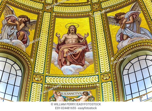 Dome Christ Mosaic Basilica Saint Stephens Cathedral Budapest Hungary. Saint Stephens named after King Stephens who brought Christianity to Hungary