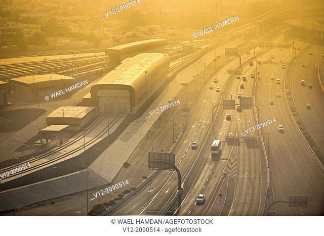 Aerial view of roads and highway near dubai airport, Dubai, UAE