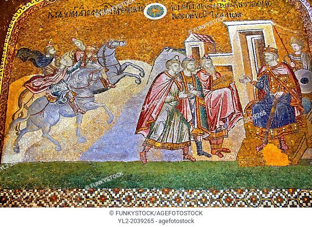 The 11th century Roman Byzantine Church of the Holy Saviour in Chora and its mosaic of the Three Kings (Magi) in audience with King Herod (panel D-14)