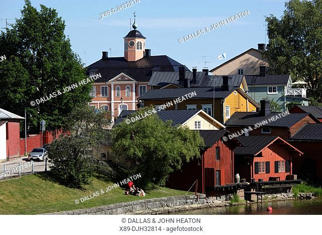 Finland, Southern Finland, Eastern Uusimaa, Porvoo, River Porvoonjoki, Old Town Hall, Medieval Wooden Houses