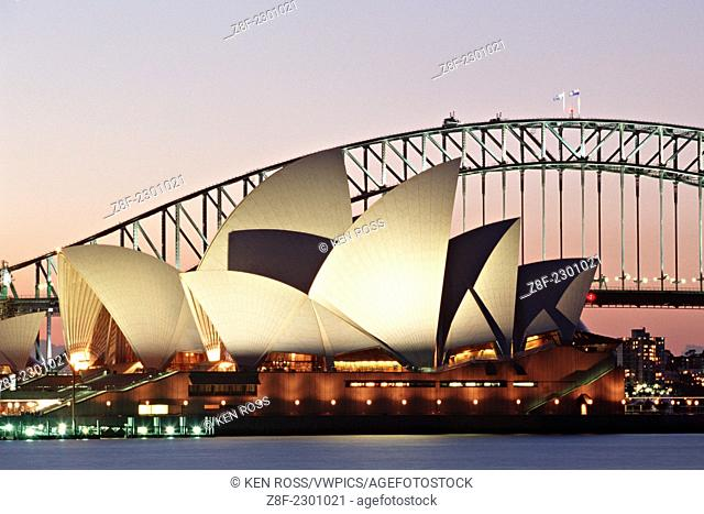 Sydney Opera House and Bridge at Dusk, Sydney, Australia