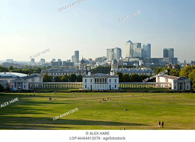 A view of Canary Wharf from Greenwich Park and the Royal Observatory