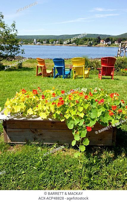 Colorfull lawn chairs, Annapolis Royal, Nova Scotia, Canada