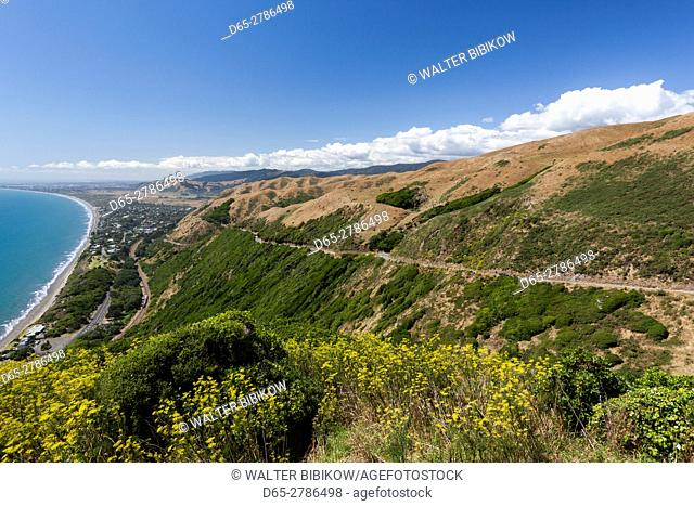 New Zealand, North Island, Paekakariki, elevated view of the Kapiti Coast
