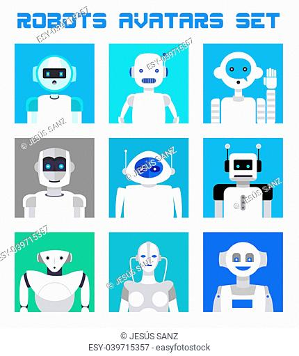 Varied set of robots faces and heads for used as characters avatars. Imaginative and friendly colourful collection of happy andorids to give a fresh and...