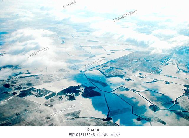 Aerial view of purlieus of Kiev, Ukraine