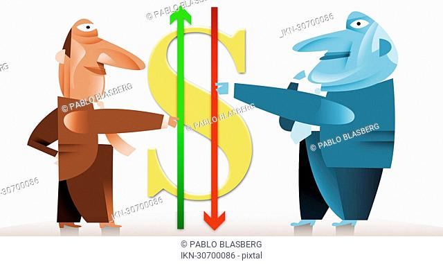 Businessmen holding arrows next to dollar symbol