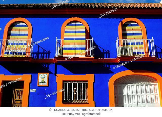 Colored facade in Alcala de Guadaira. Sevilla. Spain