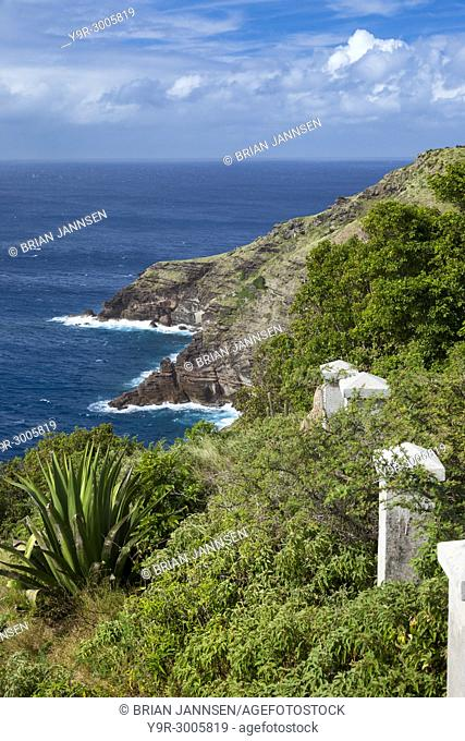 Rocky coastline along the southeast coast of Antigua at Shirley Heights, Antigua and Barbuda, West Indies