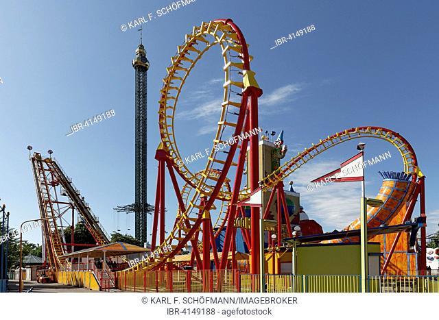 Boomerang roller coaster and Prater Tower, Vienna Prater or Wurstelprater, Vienna, Austria