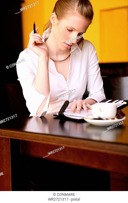 young, woman, beauty, organising, sit, cafe, adult