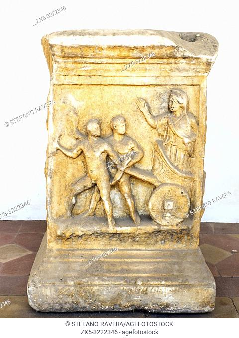 Altar representing the myth of Cleobi and Bitone on the front in white marble, Imperial Age from rome in via della Giustiniana - National Roman Museum - The...