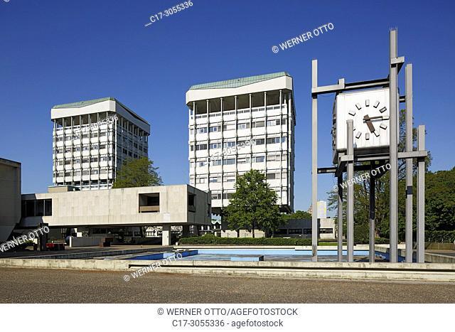 Marl, D-Marl, Ruhr area, Westphalia, North Rhine-Westphalia, NRW, city hall with clock tower at the Creiler Platz, secular building, two office towers