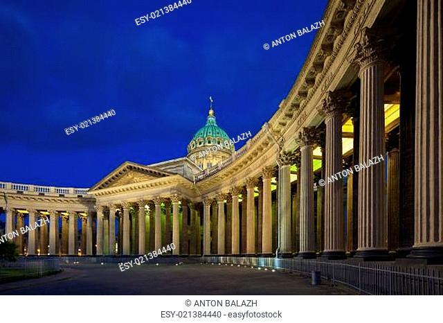 Kazan Cathedral in St. Petersburg's White Nights. Northern facade of a grand col